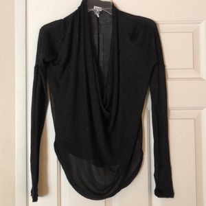 Splendid Sheer Drape Neck Long Sleeve Top